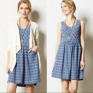 Anthropologie Maeve Blue Aztec Dress Size 4